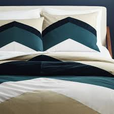 Duvet Cover Teal Peak Full Queen Chevron Duvet Cover Cb2