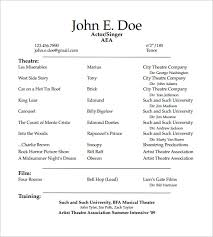 Resume Templates Samples Free Musical Theatre Resume Examples Free Actor Resume Template Sample