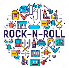 rock n roll circle outline icons collection set music equipment