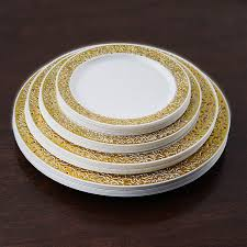 plates for wedding 10 pcs 6 25 disposable white plastic dessert plates with gold