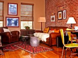 apartments exquisite red brick wall living room painted tiles