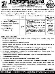 government of punjab medical officer jobs 2016 lahore children