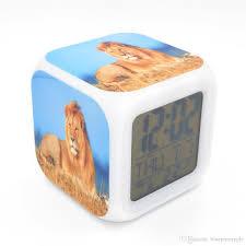 2017 new led alarm clock lion creative desk table clock calendar