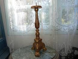antique french altar candle stick holder gilded wooden altar