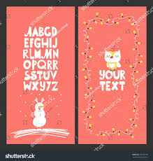 winter alphabet christmas card frame garland stock vector