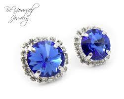 royal blue earrings blue earrings sparkly stud earrings swarovski rivoli