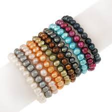 8mm x 6mm genuine freshwater cultured multi color pearl stretch