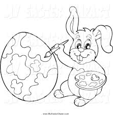 clip art of a black and white easter bunny painting an egg by