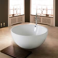 Laminate Wood Flooring For Bathroom Round White Acrylic Freestanding Bathtub Combined With Rectangle