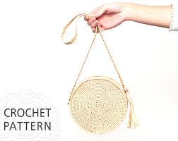 crochet bag pattern raffia bag round bag shoulder strap