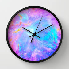 galaxy clock galaxy print clock galaxy clock pink blue lavender wall