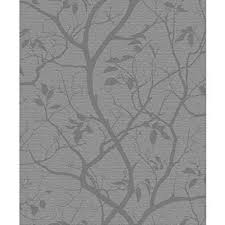 grandeco marino floral leaf pattern silhouette tree metallic