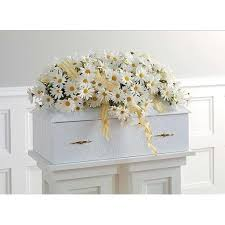 baby casket white daisies flowers and ribbon baby sympathy casket spray