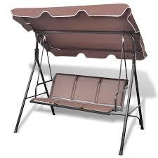 3 Seater Garden Swing Chair Coffee Garden Swing Chair Vidaxl Com