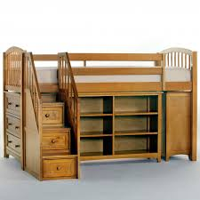Wooden Bunk Bed With Stairs Furniture Wooden Loft Bed With Storage Stairs And Book Shelves