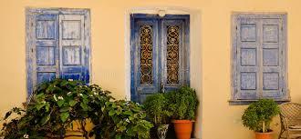 ornamental blue doors and windows samos greece stock image image