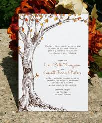 initials carved in tree fall wedding invitation sketched fall tree with carved initials