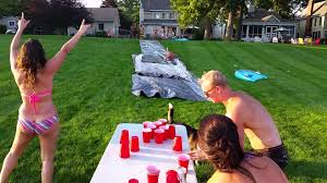 Backyard Drinking Games Slip N Slide Flip Cup Youtube