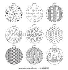 set black white christmas balls decorated stock vector 346763993
