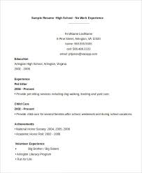Examples Of Student Resumes With No Work Experience by High Student Resume 7 Free Word Pdf Documents Download