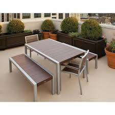Modern Outdoor Wood Bench by Boaz Faux Wood Powder Coated Metal Modern Outdoor Dining