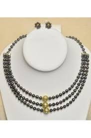 pearl string necklace images 3 string black pearl necklace with flower shape earrings jpg jpg