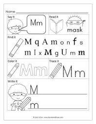 number names worksheets letter m activities for kindergarten