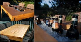 Cooler Patio Table How To Make Diy Patio Table With Built In Beverage Cooler How To