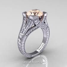morganite engagement ring white gold classic 14k white gold 3 0 ct morganite engraved