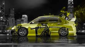 mitsubishi yellow 4k mitsubishi lancer evolution jdm anime samurai aerography city