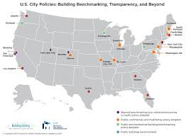 map of us cities map u s building benchmarking and transparency policies