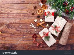 christmas background handmade gift boxes near stock photo