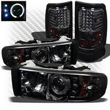 02 dodge ram headlights dodge ram 3500 1994 2002 smoked projector headlights and led