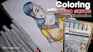 coloring copic sketch manga illustration 24colors youtube