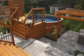 spa d exterieur bois cour urbaine avec piscine hors terre pergola terrasses patios