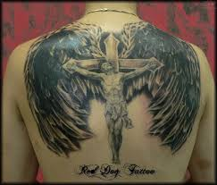 jesus on cross and angel wings tattoo on back