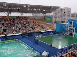 Rio Olympic Venues Now Rio 2016 Olympic Water Polo Pool Becomes Second To Turn Green