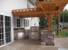 pergola granite countertops cultured stone paver patio outdoor