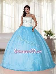 aqua quinceanera dresses white and aqua blue strapless floor length appliques quinceanera