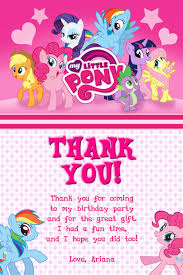 Mlp Birthday Card My Little Pony Thank You Card Invitations Pinterest Pony