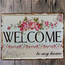 Wel e Home Metal Shabby Chic Vintage Sign Home Wall Decor Metal