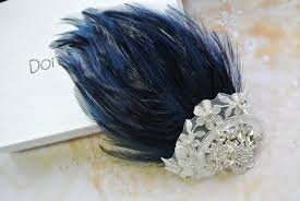 feather hair clip wedding hair clip navy blue fascinator vintage style fascinator