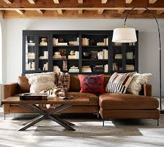 Leather Sofa With Chaise Jake Leather Sofa With Chaise Sectional Pottery Barn