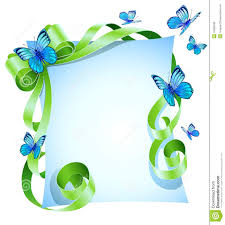 Blue And Green Butterfly - greeting card with green bow and blue butterfly stock vector