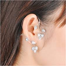 earrings that go up the ear dnswez silver leaf style cubic zirconia right ear cuff