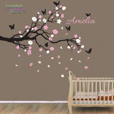 Nursery Decor Wall Stickers On Sale Custom Personalised Name Birds Butterfly Branch Wall