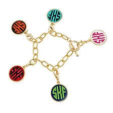 Monogram Charms Modern Monogram Enamel Charm Bracelet Meg U0026 Peg