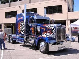 cool semi trucks peterbilt blue semi truck with custom flame