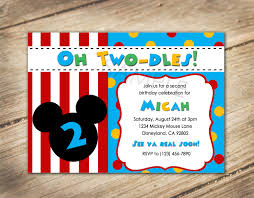 oh two dles 2nd birthday mickey disney theme invitation