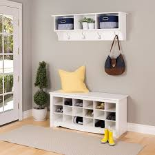 Storage Bench With Hooks by Furniture Entry Way With White Wooden Coat Rack And Open Shelf